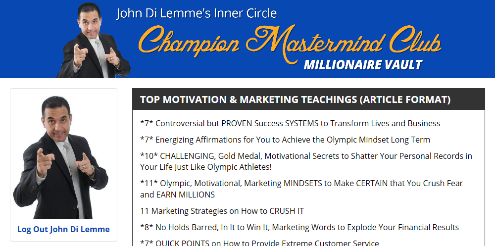 John Di Lemme's Inner Circle Champion Mastermind Club Membership Benefit - John Di Lemme Articles