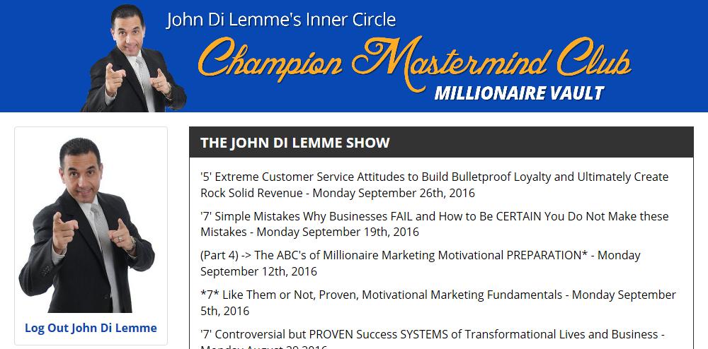 John Di Lemme's Inner Circle Champion Mastermind Club Membership Benefit - John Di Lemme Show