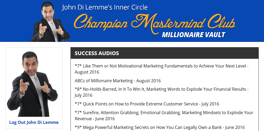 John Di Lemme's Inner Circle Champion Mastermind Club Membership Benefit - Success Audios